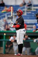 Batavia Muckdogs designated hitter Albert Guaimaro (13) at bat during a game against the West Virginia Black Bears on June 18, 2018 at Dwyer Stadium in Batavia, New York.  Batavia defeated West Virginia 9-6.  (Mike Janes/Four Seam Images)