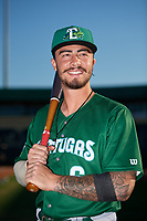 Daytona Tortugas third baseman Jonathan India (6) poses for a photo before a Florida State League game against the Palm Beach Cardinals on April 11, 2019 at Roger Dean Stadium in Jupiter, Florida.  Palm Beach defeated Daytona 6-0.  (Mike Janes/Four Seam Images)