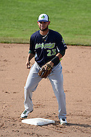 Vermont Lake Monsters second baseman Gabriel Santana (23) waits for a throw during a game against the Jamestown Jammers on July 13, 2014 at Russell Diethrick Park in Jamestown, New York.  Jamestown defeated Vermont 6-2.  (Mike Janes/Four Seam Images)
