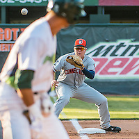 31 July 2016: Connecticut Tigers third baseman Josh Lester awaits a throw during play against the Vermont Lake Monsters at Centennial Field in Burlington, Vermont. The Lake Monsters edged out the Tigers 4-3 in NY Penn League action.  Mandatory Credit: Ed Wolfstein Photo *** RAW (NEF) Image File Available ***