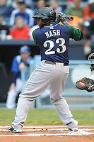 Lexington Legends Telvin Nash #23 swings at a pitch during a game against  the Asheville Tourists at McCormick Field in Asheville,  North Carolina;  April 15, 2011.  Asheville defeated Lexington 2-1.  Photo By Tony Farlow/Four Seam Images