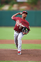 Frisco RoughRiders pitcher Jose Leclerc (17) delivers a pitch during a game against the Springfield Cardinals on June 3, 2015 at Hammons Field in Springfield, Missouri.  Springfield defeated Frisco 7-2.  (Mike Janes/Four Seam Images)