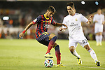 Real Madrid´s Isco (R) and F.C. Barcelona´s Neymar Jr during the Spanish Copa del Rey `King´s Cup´ final soccer match between Real Madrid and F.C. Barcelona at Mestalla stadium, in Valencia, Spain. April 16, 2014. (ALTERPHOTOS/Victor Blanco)