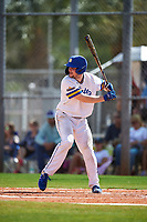 South Dakota State Jackrabbits catcher Derek Hackman (9) bats during a game against the FIU Panthers on February 23, 2019 at North Charlotte Regional Park in Port Charlotte, Florida.  South Dakota State defeated FIU 4-3.  (Mike Janes/Four Seam Images)
