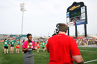 Fox Soccer Channel sideline reporter Karina LeBlanc. The Western New York Flash defeated the Philadelphia Independence 5-4 in a penalty kick shootout after playing to a 1-1 tie during the Women's Professional Soccer (WPS) Championship presented by Citi at Sahlen's Stadium in Rochester NY, on August 27, 2011.
