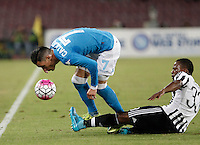 Calcio, Serie A: Napoli vs Juventus. Napoli, stadio San Paolo, 26 settembre 2015. <br /> Napoli's Jose' Maria Callejon, left, is challenged by Juventus' Patrice Evra during the Italian Serie A football match between Napoli and Juventus at Naple's San Paolo stadium, 26 September 2015.<br /> UPDATE IMAGES PRESS/Isabella Bonotto