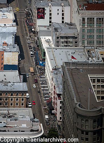aerial photograph Powell Street cable car line Union Square San Francisco, California
