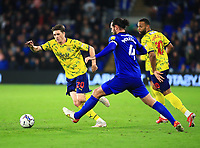 28th September 2021; Cardiff City Stadium, Cardiff, Wales;  EFL Championship football, Cardiff versus West Bromwich Albion; Adam Reach of West Bromwich Albion makes a run past Sean Morrison of Cardiff City