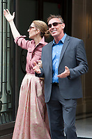 August 2nd 2017 - Paris, France : Singer Celine Dion leaves the Royal Monceau Hotel on Avenue Hoche to go to her show at Leeds. She took the opportunity to wish a happy birthday to her bodyguard. # CELINE DION SORT DU ROYAL MONCEAU ET SOUHAITE UN BON ANNIVERSAIRE A SON GARDE DU CORPS