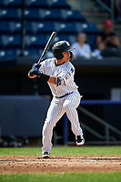 Staten Island Yankees shortstop Eduardo Torrealba (13) at bat during a game against the Lowell Spinners on August 22, 2018 at Richmond County Bank Ballpark in Staten Island, New York.  Staten Island defeated Lowell 10-4.  (Mike Janes/Four Seam Images)