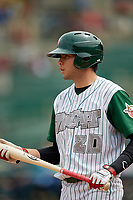 Fort Wayne TinCaps designated hitter Hudson Potts (20) on deck during a game against the Wisconsin Timber Rattlers on May 10, 2017 at Parkview Field in Fort Wayne, Indiana.  Fort Wayne defeated Wisconsin 3-2.  (Mike Janes/Four Seam Images)