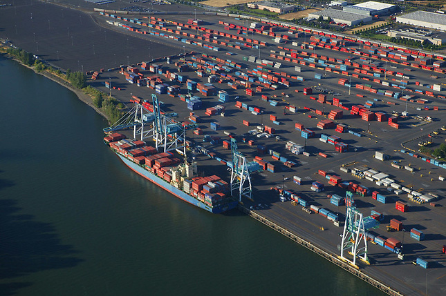 Container ship at dock in Portland