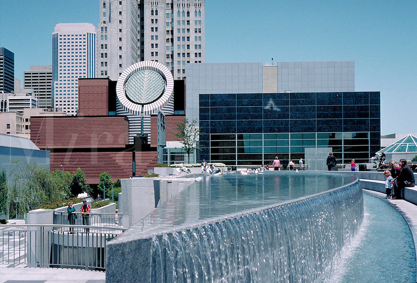 Museum of Modern Art with fountain in the foreground. architecture, museums. San Francisco California, Yerba Buena gardens.