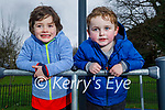 Jonathan Hayes and Adam Donavan enjoying the playground in the Tralee town park on Saturday.