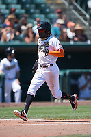 Sacramento RiverCats shortstop Orlando Calixte (2) hustles to home plate during a Pacific Coast League against the Tacoma Rainiers at Raley Field on May 15, 2018 in Sacramento, California. Tacoma defeated Sacramento 8-5. (Zachary Lucy/Four Seam Images)