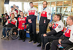 Calgary, AB - June 5 2014 - Mac Marcoux, Graeme Murray, Karl Ludwig, Erik Carleton, Kurt Oatway, Mark Ideson and Dennis Thiessen visiting children during the Celebration of Excellence Heroes Tour visit to the Alberta Children's Hospital. (Photo: Matthew Murnaghan/Canadian Paralympic Committee)