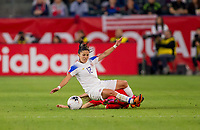 CARSON, CA - FEBRUARY 07: Janine Beckie #16 of Canada slidetackles Lixy Rodriguez #12 of Costa Rica during a game between Canada and Costa Rica at Dignity Health Sports Complex on February 07, 2020 in Carson, California.