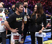LAS VEGAS, NV - AUG 21: Fox Sports Heidi Androl interviews Manny Pacquiao on the Fox Sports PBC pay-per-view fight night at the T-Mobile Arena on August 21, 2021 in Las Vegas, Nevada (Photo by Scott Kirkland/Fox Sports/PictureGroup)