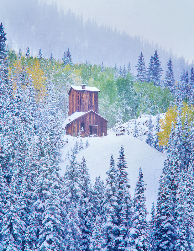 Mining structure with new snowfall and fall colored aspens. Uncompahgre National Forest, Colorado