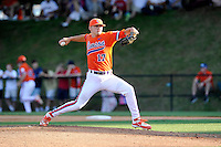 Pitcher Paul Campbell (17) of the Clemson Tigers delivers a pitch in a game against the Wofford College Terriers on Tuesday, May 5, 2015, at Russell C. King Field in Spartanburg, South Carolina. Wofford won, 17-9. (Tom Priddy/Four Seam Images)