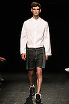 Model Kieran walks runway in an outfit from the Linder Spring Summer 2017 collection by Sam Linder and Kirk Millar on July 11 2016, during New York Fashion Week Men's Spring Summer 2017.