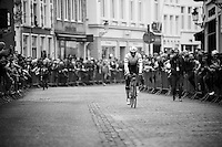 Fabian Cancellara (SUI/Trek-Segafredo) is like royalty in Flanders; a constant stream of cheering follows him wherever he goes. <br /> Like here on his way to the start in the streets of Bruges.<br /> <br /> 100th Ronde van Vlaanderen 2016