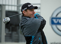 14.10.2014. The London Golf Club, Ash, England. The Volvo World Match Play Golf Championship.  Stephen Gallacher (SCO) tee shot on the first hole during the Pro-Am event.