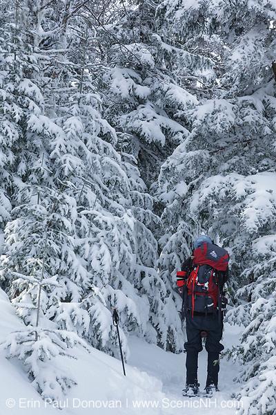 Hiking on Garfield Trail in the White Mountains of New Hampshire during the winter months.