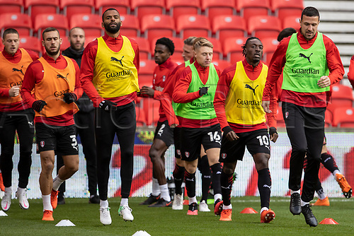 31st October 2020; Bet365 Stadium, Stoke, Staffordshire, England; English Football League Championship Football, Stoke City versus Rotherham United; Rotherham start their warmup