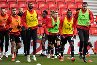 31st October 2020; Bet365 Stadium, Stoke, Staffordshire, England; English Football League Championship Football, Stoke City versus Rotherham United; Rotherham start their warmup