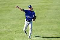 Biloxi Shuckers pitcher Dylan File (27) warms up in the outfield prior to a Southern League game against the Jackson Generals on June 13, 2019 at The Ballpark at Jackson in Jackson, Tennessee. Jackson defeated Biloxi 5-4. (Brad Krause/Four Seam Images)