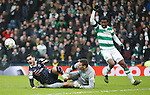 Efe Ambrose takes out Alex Schalk for a red card and a penalty