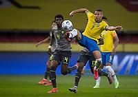 4th June 2021; Beira-Rio Stadium, Porto Alegre, Brazil; Qatar 2022 qualifiers; Brazil versus Ecuador; Richarlison of Brazil and Robert Arboleda of Ecuador reaches to keep the ball away from Robert Arboleda of Ecuador