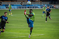 SAN JOSE, CA - OCTOBER 18: Yeimar Gomez Andrade #28 of the Seattle Sounders high kicks the ball during a game between Seattle Sounders FC and San Jose Earthquakes at Earthquakes Stadium on October 18, 2020 in San Jose, California.