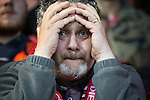 © Joel Goodman - 07973 332324 . 18/05/2016 . Accrington , UK . Accrington Stanley fans during the 2nd half of the match . Accrington Stanley take on AFC Wimbledon at the Wham Stadium , in the 2nd leg of their League Two tie , the result from which will decide which team goes on to the final at Wembley . Photo credit : Joel Goodman