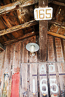 Light hanging inside an old wooden hut, Arcachon Bay, Aquitaine, France.