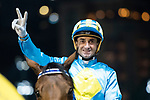 Jockey #2 Douglas Whyte riding London City celebrates after winning race 4 during Hong Kong Racing at Happy Valley Race Course on November 22, 2017 in Hong Kong, Hong Kong. Photo by Marcio Rodrigo Machado / Power Sport Images
