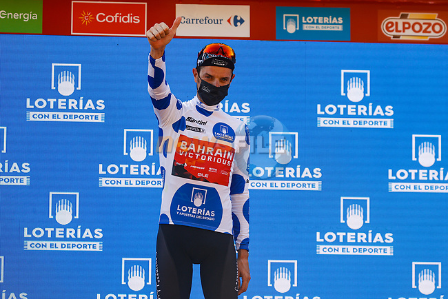 Damiano Caruso (ITA) Bahrain Victorious retains the mountains Polka Dot Jersey at the end of Stage 12 of La Vuelta d'Espana 2021, running 175km from Jaén to Córdoba, Spain. 26th August 2021.     <br /> Picture: Luis Angel Gomez/Photogomezsport | Cyclefile<br /> <br /> All photos usage must carry mandatory copyright credit (© Cyclefile | Luis Angel Gomez/Photogomezsport)