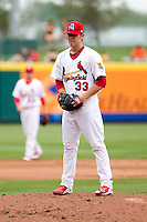 Michael Blazek (33) of the Springfield Cardinals on the mound during a game against the Arkansas Travelers on May 10, 2011 at Hammons Field in Springfield, Missouri.  Photo By David Welker/Four Seam Images.