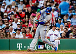 Jun 22, 2019; Boston, MA, USA; Toronto Blue Jays first baseman Rowdy Tellez hits a solo home run in the 7th inning against the Boston Red Sox at Fenway Park. Mandatory Credit: Ed Wolfstein-USA TODAY Sports