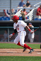 Auburn Doubledays third baseman Omar Meregildo (18) at bat during the second game of a doubleheader against the Mahoning Valley Scrappers on July 2, 2017 at Falcon Park in Auburn, New York.  Mahoning Valley defeated Auburn 3-2.  (Mike Janes/Four Seam Images)