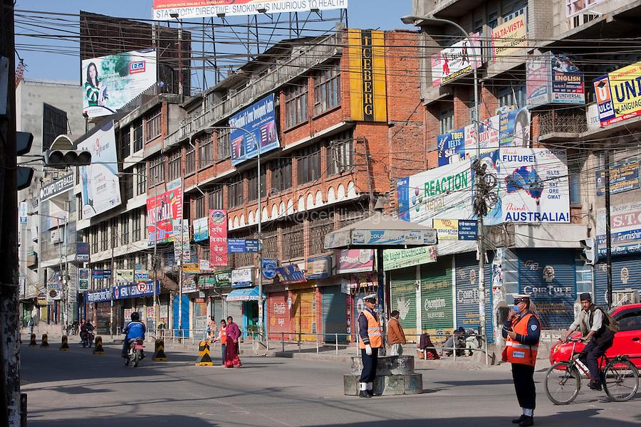 Kathmandu, Nepal.  Putali Sadak Street Scene.
