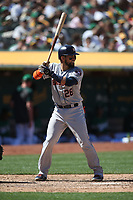 OAKLAND, CA - AUGUST 18:  Robinson Chirinos #28 of the Houston Astros bats against the Oakland Athletics during the game at the Oakland Coliseum on Sunday, August 18, 2019 in Oakland, California. (Photo by Brad Mangin)