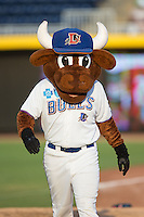 Durham Bulls mascot Wool E. Bull makes his entrance prior to the game against the Indianapolis Indians at Durham Bulls Athletic Park on August 4, 2015 in Durham, North Carolina.  The Indians defeated the Bulls 5-1.  (Brian Westerholt/Four Seam Images)