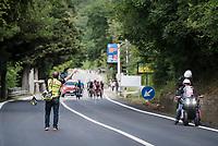 The breakaway group, with Lucas Hamilton (AUS/Mitchelton-Scott), passing through the feedzone<br /> <br /> Stage 7: Vasto to L'Aquila (180km)<br /> 102nd Giro d'Italia 2019<br /> <br /> ©kramon