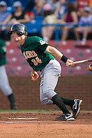 Eric Fryer #34 of the Lynchburg Hillcats follows through on his swing versus the Winston-Salem Dash at Wake Forest Baseball Stadium August 30, 2009 in Winston-Salem, North Carolina. (Photo by Brian Westerholt / Four Seam Images)