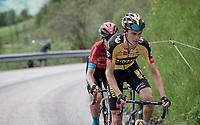 Sepp Kuss (USA/Jumbo-Visma) & (eventual stage winner) Mark Padun (UKR/Bahrain - Victorious) up the climb towards La Plagne (HC/2072m/17.1km@7.5%) <br /> <br /> 73rd Critérium du Dauphiné 2021 (2.UWT)<br /> Stage 7 from Saint-Martin-le-Vinoux to La Plagne (171km)<br /> <br /> ©kramon