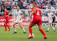 CARSON, CA - FEBRUARY 9: Lindsey Horan #9 of the United States watches the ball during a game between Canada and USWNT at Dignity Health Sports Park on February 9, 2020 in Carson, California.