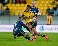 30th April 2021; Wellington, New Zealand;  Hurricanes Salesi Rayasi skips past a tackle.  Hurricanes versus  Highlanders, Super Rugby, Sky Stadium, Wellington New Zealand, Friday 30 April 2021.