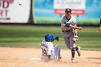 Lake County Captains shortstop Tyler Freeman (7) turns a double play against the South Bend Cubs on May 30, 2019 at Four Winds Field in South Bend, Indiana. The Captains defeated the Cubs 5-1.  (Andrew Woolley/Four Seam Images)